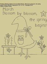 "Primitive Stitchery Pattern Crow by Month March ""Blossom by blossom, the spring begins!"""