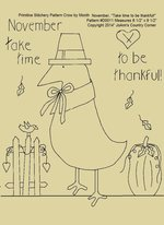 "Primitive Stitchery E-Pattern Crow by Month November ""Take time to be thankful!"""