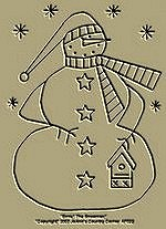 "Primitive Stitchery Pattern-Prim ""Ernie"" The Snowman!"