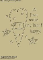 "Primitive Stitchery Patterns, ""Ewe make my heart happy!"""