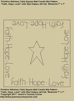 "Primitive Stitchery Pattern, ""Faith, Hope, Love"" with Stars, Candle Mat"""