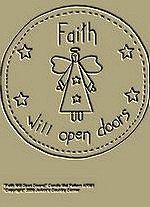 "Primitive Stitchery Pattern Candle Mat ""Faith Will Open Doors!"""