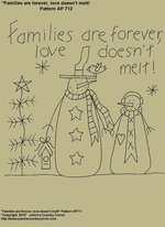 "Primitive Stitchery E-Pattern, ""Families are forever, love does not melt!"""