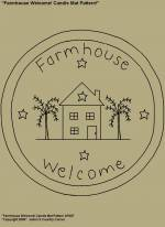 "Primitive Stitchery Pattern, ""Farmhouse Welcome!"" Candle Mat Pattern!"