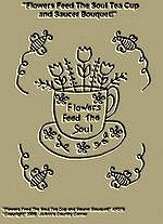 "Primitive Stitchery Pattern Primitive ""Flowers Feed The Soul Tea Cup and Saucer Bouquet!"""
