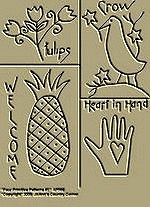 "Primitive Stitchery Patterns, Prim ""Four Primitive Patterns with Tulips, Welcome, Crow, Heart in Hand!"""