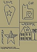 "Primitive Stitchery Pattern Prim ""Four Primitive Patterns, Love, Americana, Welcome, Cat!"""