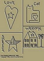 """Primitive Stitchery Pattern Prim """"Four Primitive Patterns, Love, Americana, Welcome, Cat!"""""""