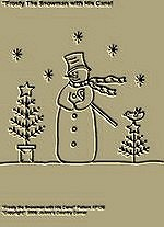 "Primitive Stitchery Pattern, ""Frosty The Snowman with His Cane!"""