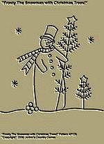 "Primitive Stitchery Pattern, "" Frosty The Snowman with Christmas Trees!"""