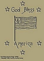 "Primitive Stitchery Pattern, Prim "" God Bless America Flag!"""