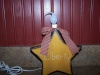 """Primitive Country Gold """"Liberty"""" Star Box with Candle Light and Country Red Check Homespun Bow!"""