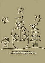 "Primitive Stitchery  Pattern- ""Harry The Snowman With Birdhouse"""