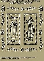 "PrimitiveStitchery Pattern ""Harvest Pumpkin & Daisy Flower Towel Patterns/Quilt Applique Patterns!"""