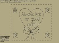 "Primitive Stitchery e-Pattern, Heart'n Star Buttons ""Always kiss me good night!"""