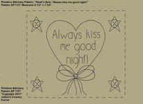 "Primitive Stitchery e-Pattern, Heart'n Star Buttons ""Always kiss me good night!"""