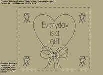 "Primitive Stitchery e-Pattern, Heart'n Bow ""Everyday is a gift!"""