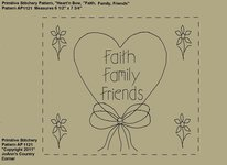 "Primitive Stitchery e-Pattern, Heart'n Bow ""Faith, Family, Friends!"""