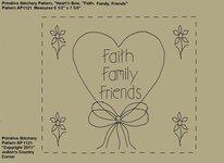 "Primitive Stitchery e-Pattern, Heart'n Bow ""Faith, Family, Friends!"""