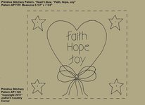 "Primitive Stitchery e-Pattern, Heart'n Stars ""Faith, Hope, Joy!"""