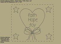 "Primitive Stitchery e-Pattern, Heart'n Stars ""Faith, Hope, Joy!"""
