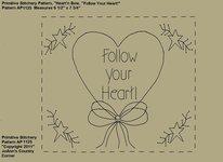 "Primitive Stitchery e-Pattern, Heart'n Stars ""Follow your Heart!"""