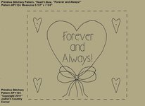 "Primitive Stitchery e-Pattern, Heart'n Bow ""Forever and Always!"""