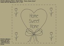"Primitive Stitchery e-Pattern, Heart'n Tulips ""Home Sweet Home!"""