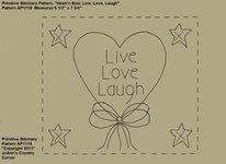 "Primitive Stitchery e-Pattern Heart'n Stars ""Live, Love, Laugh!"""