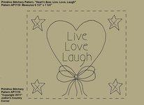 "Primitive Stitchery e-Pattern Heart'n Stars ""Live, Love, Laugh!"""