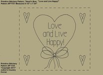 "Primitive Stitchery e-Pattern, Heart'n Bow ""Love and Live Happy!"""