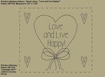 "Primitive Stitchery e-Pattern, Heart'n Bow ""Love and Live Happy!"""