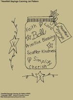 "Primitive Stitchery Pattern, ""Hearfelt Sayings Canning Jar Pattern!"""