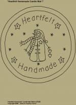 "Primitive Stitchery Pattern, ""Heartfelt Handmade Snowman!"" Candle Mat Pattern!"