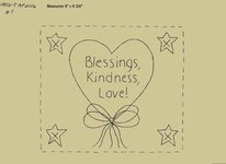 "Primitive Stitchery Pattern Heart'n Bows ""Blessings, Kindness, Love!"""