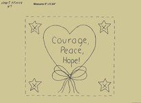 "Primitive Stitchery Pattern Heart'n Bows ""Courage, Peace, Hope!"""