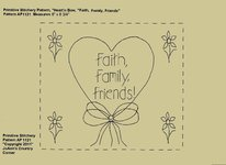 "Primitive Stitchery E-Pattern Heart'n Bow ""Faith, Family, Friends!"""