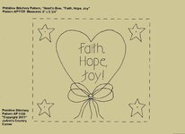 "Primitive Stitchery Pattern Heart'n Bow ""Faith, Hope, Joy!"""