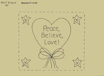 "Primitive Stitchery Pattern Heart'n Bow ""Peace, Believe, Love!"""