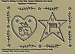 "Primitive Stitchery Pattern ""Heart'n Sheep & USA Star Towel Patterns/ Quilt Applique Patterns!"""