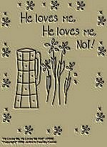 "Primitive Stitchery Pattern Primitive ""He loves me, He loves me not!"""
