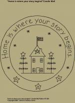 "Primitive Stitchery Pattern, ""Home is where your story begins!"" Candle Mat Pattern!"