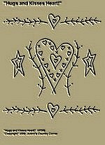 "Primitive Stitchery Pattern, Prim "" Hugs and Kisses Heart!"""