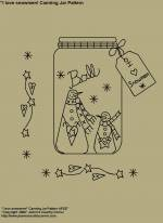 "Primitive Stitchery E-Pattern, ""I love Snowmen Canning Jar with Primitive Tag!"" E-Pattern"