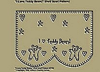 "Primitive Stitchery Pattern, "" I Love Teddy Bears!"" Shelf Scarf Pattern!"""