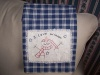 Primitive Stitchery Snowman Pattern Hand Towel Blue Check Homespun!