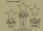 "Primitive Stitchery Pattern ""Live, Love, Laugh!"""