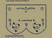 "Primitive Stitchery Pattern, ""Love Much!"" Shelf Scarf Pattern!"