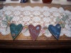 "Primitive Wooden Hearts ""Love You Sew"" with Sewing Spools and Check Bows!"
