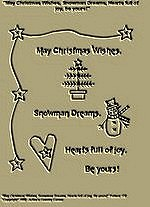 "Primitive Stitchery Pattern "" May Christmas Wishes, Snowman Dreams, Hearts full of Joy by Yours!"""
